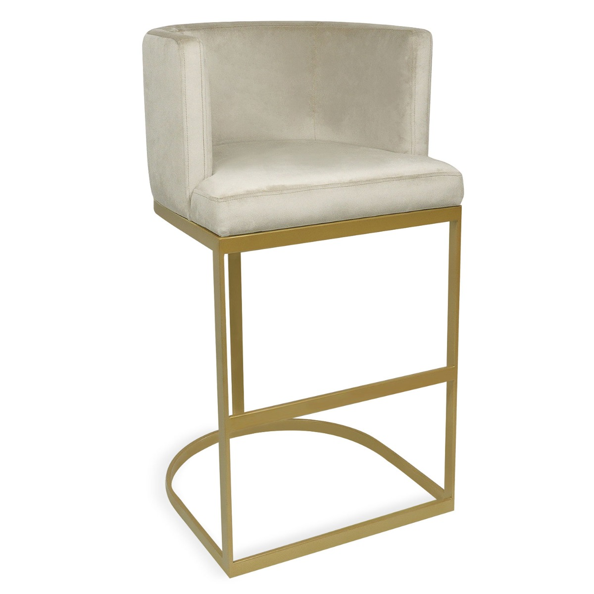 1 Chaise de bar Noellie Velours Taupe Pieds Or