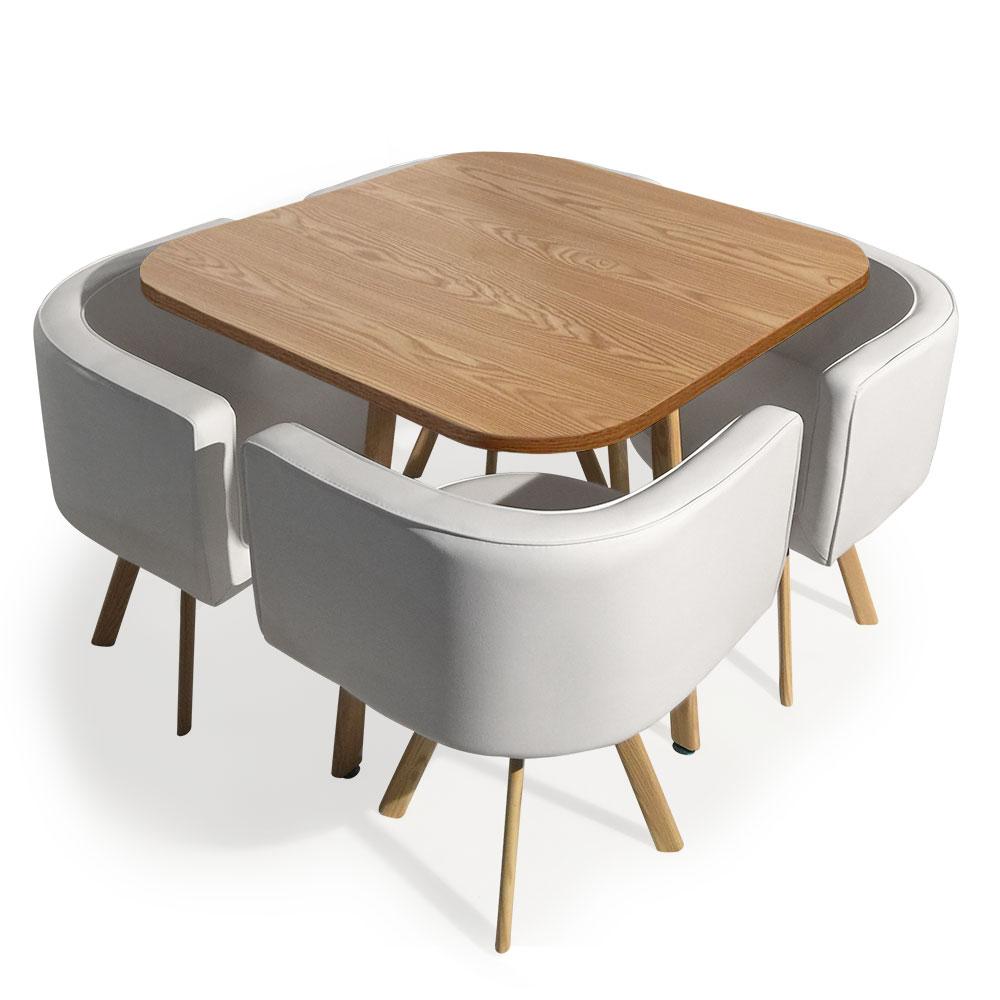 Table et chaises scandinaves Oslo Blanc et Chêne