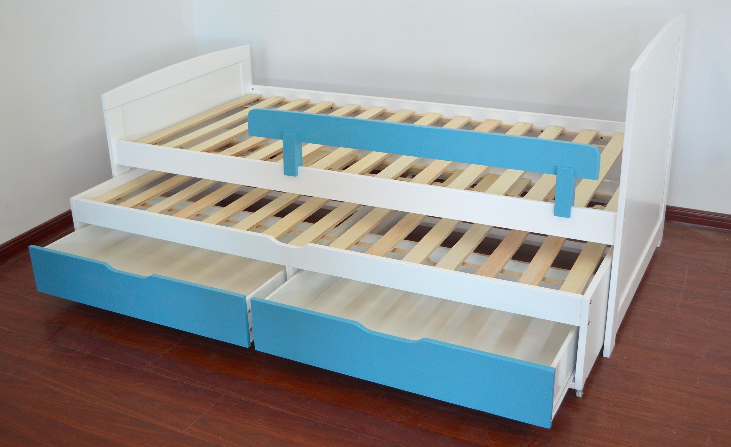 Patapon Ausziehbett für Kinder mit Lattenrost und Bettkästen Weiß & Blau