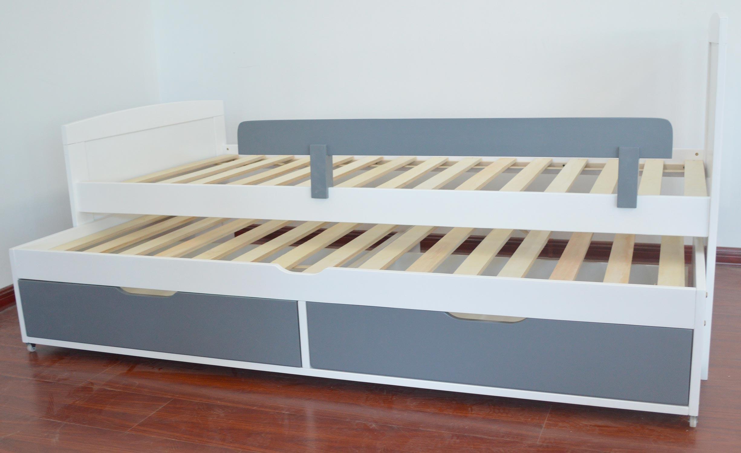 Patapon Ausziehbett für Kinder mit Lattenrost und Bettkästen Weiß & Grau