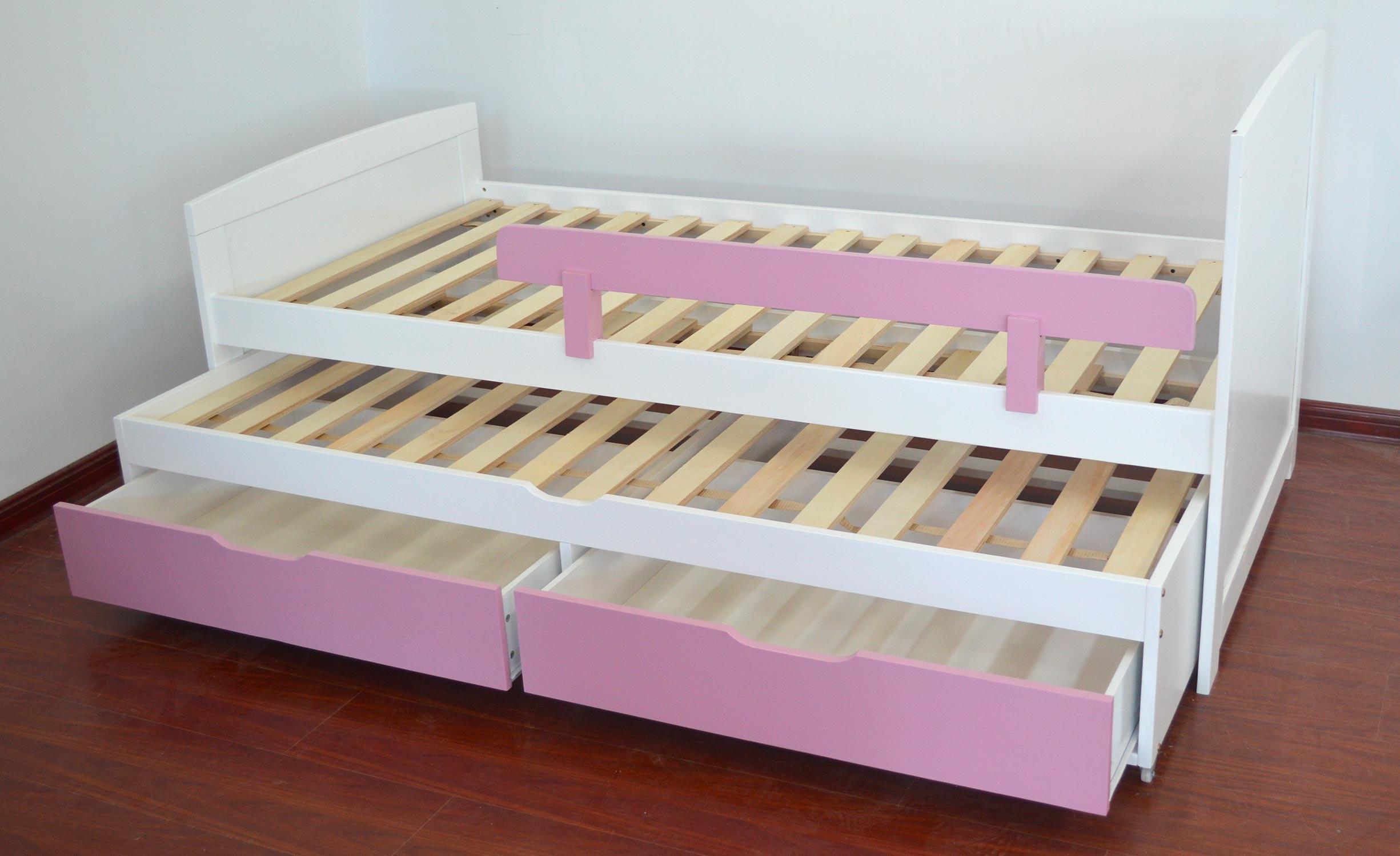 Patapon Ausziehbett für Kinder mit Lattenrost und Bettkästen Weiß & Rosa