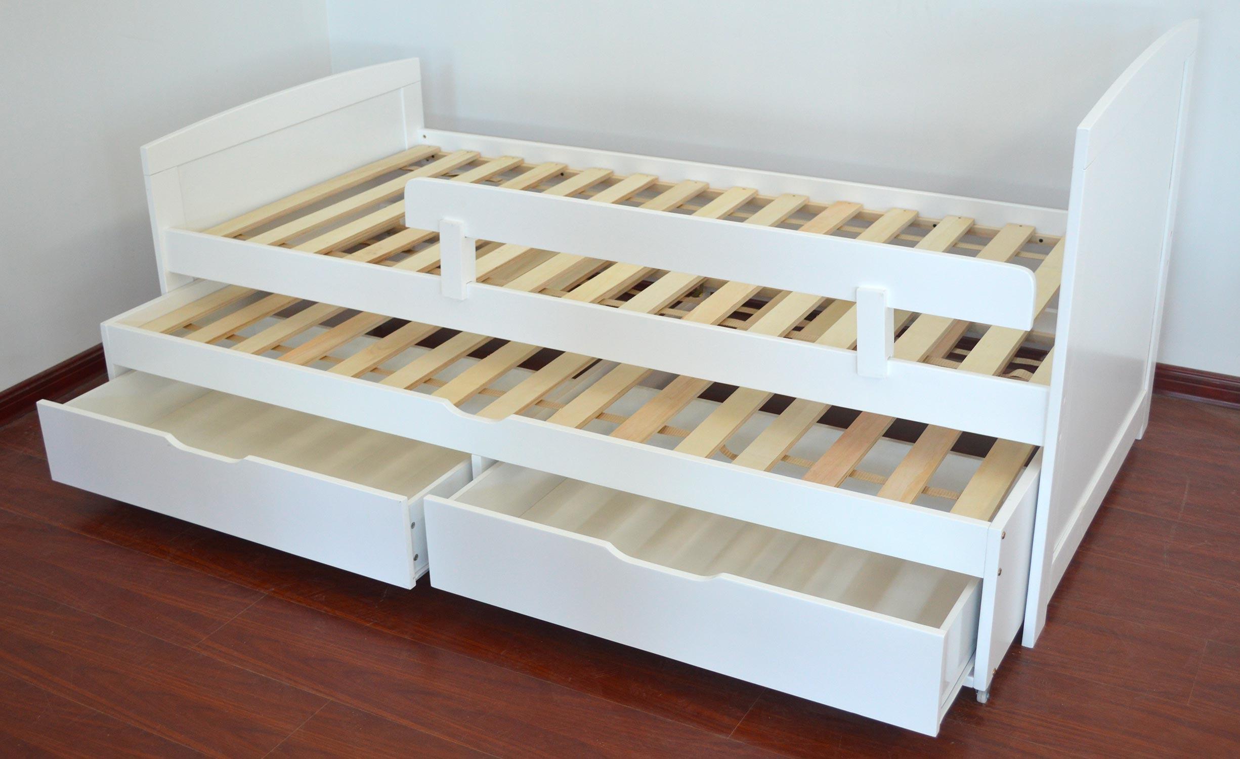 Patapon Ausziehbett für Kinder mit Lattenrost und Bettkästen Weiß
