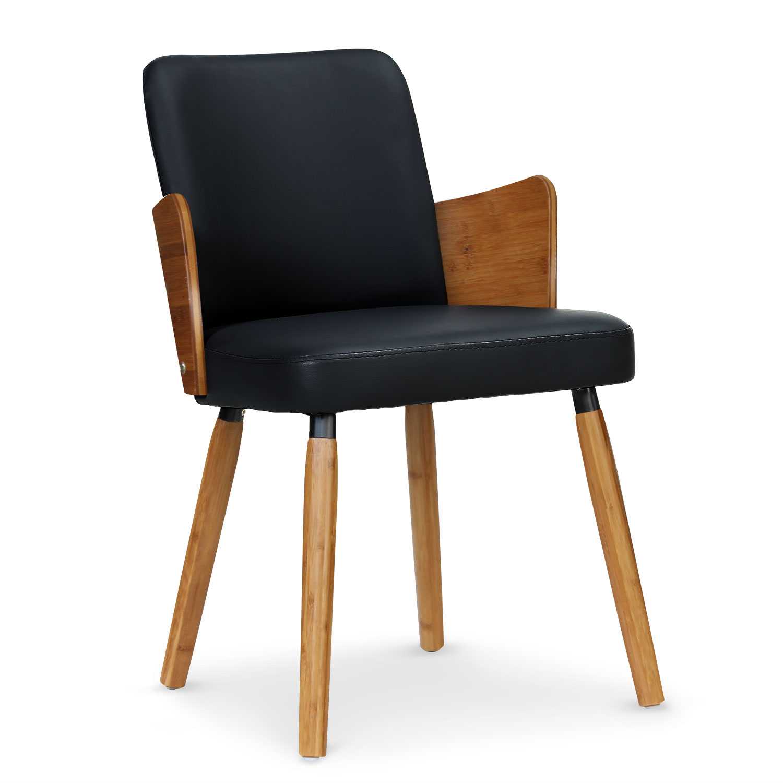 Phibie Set mit 2 skandinavischen Stühlen Naturholz & Schwarz