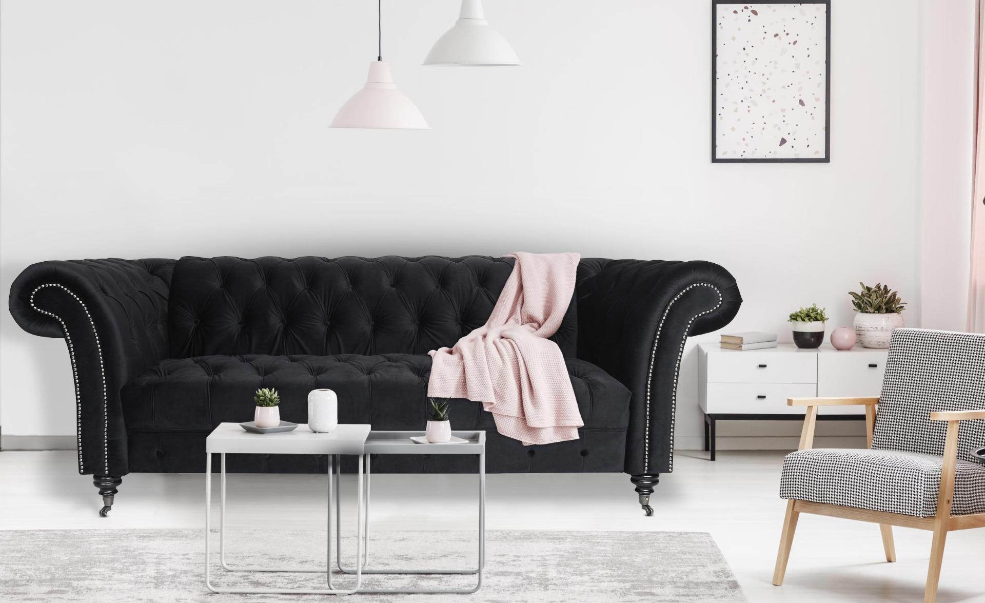 Queen Chesterfield 3-Sitzer Sofa mit Samtbezug Schwarz