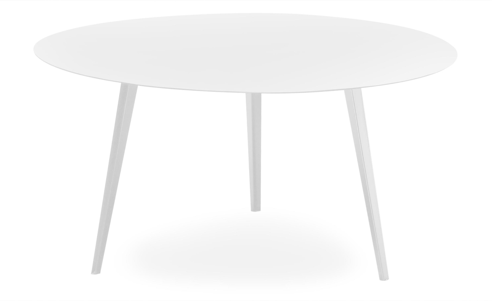 Blickfang Runder, magnetischer Couchtisch aus Metall 90 cm Weiß