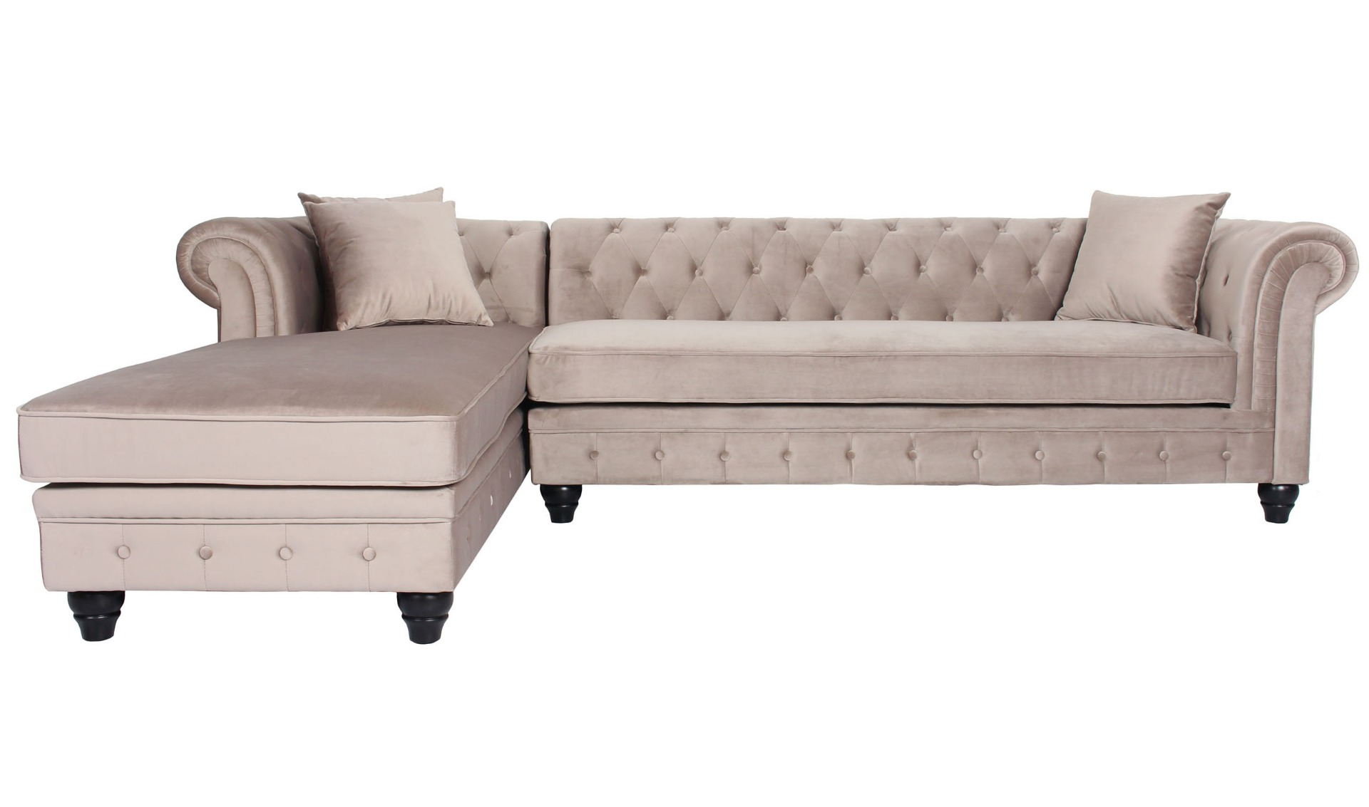 Canapé d'angle capitonné style chesterfield Roosevelt Velours Taupe