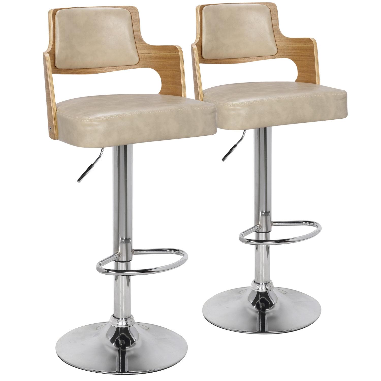 Lot de 2 chaises de bar Russel Chêne Clair & Crème