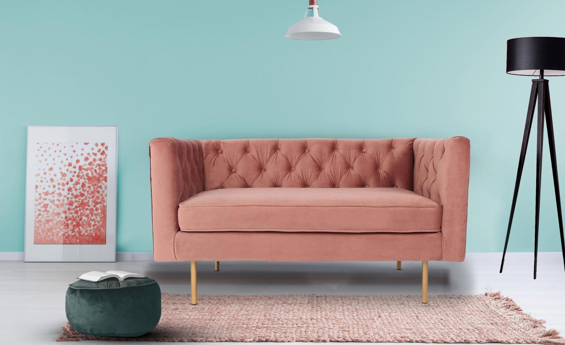 Sacha 2-Sitzer Sofa mit Samtbezug Rosa
