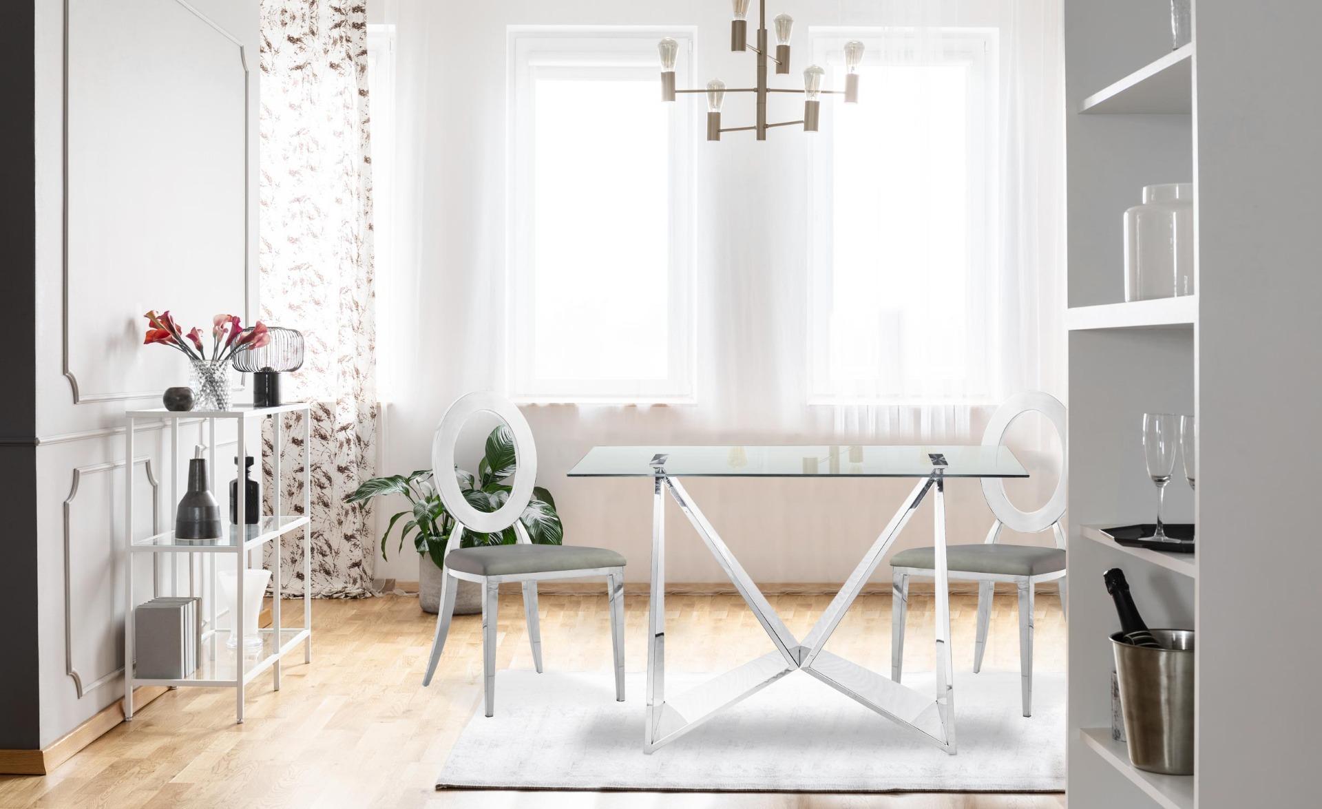 Sonia Set mit 2 Stühlen aus silbernem Metall und mit Kunstlederbezug Grau