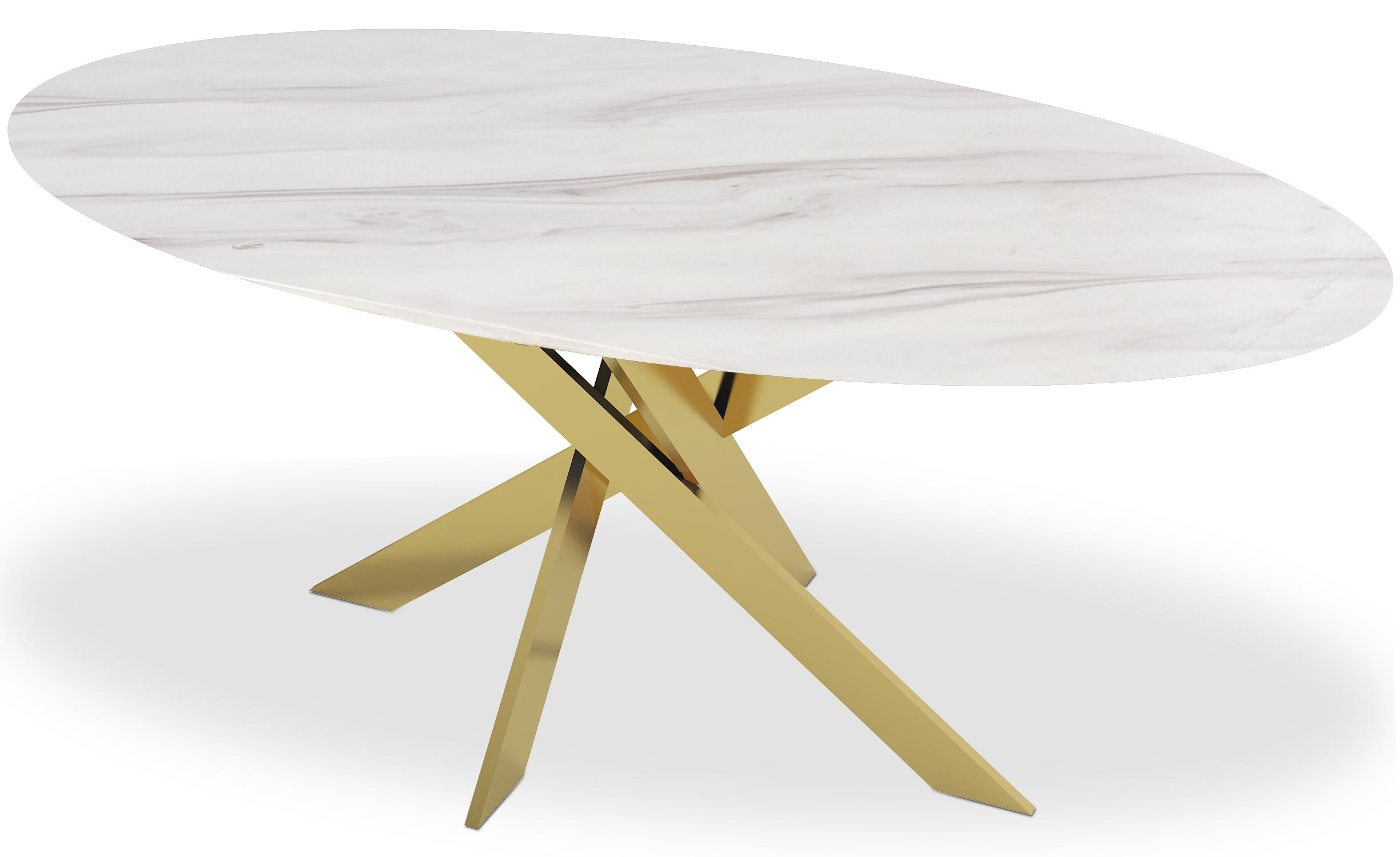 Table basse Greenwich Marbre Blanc et pieds Or