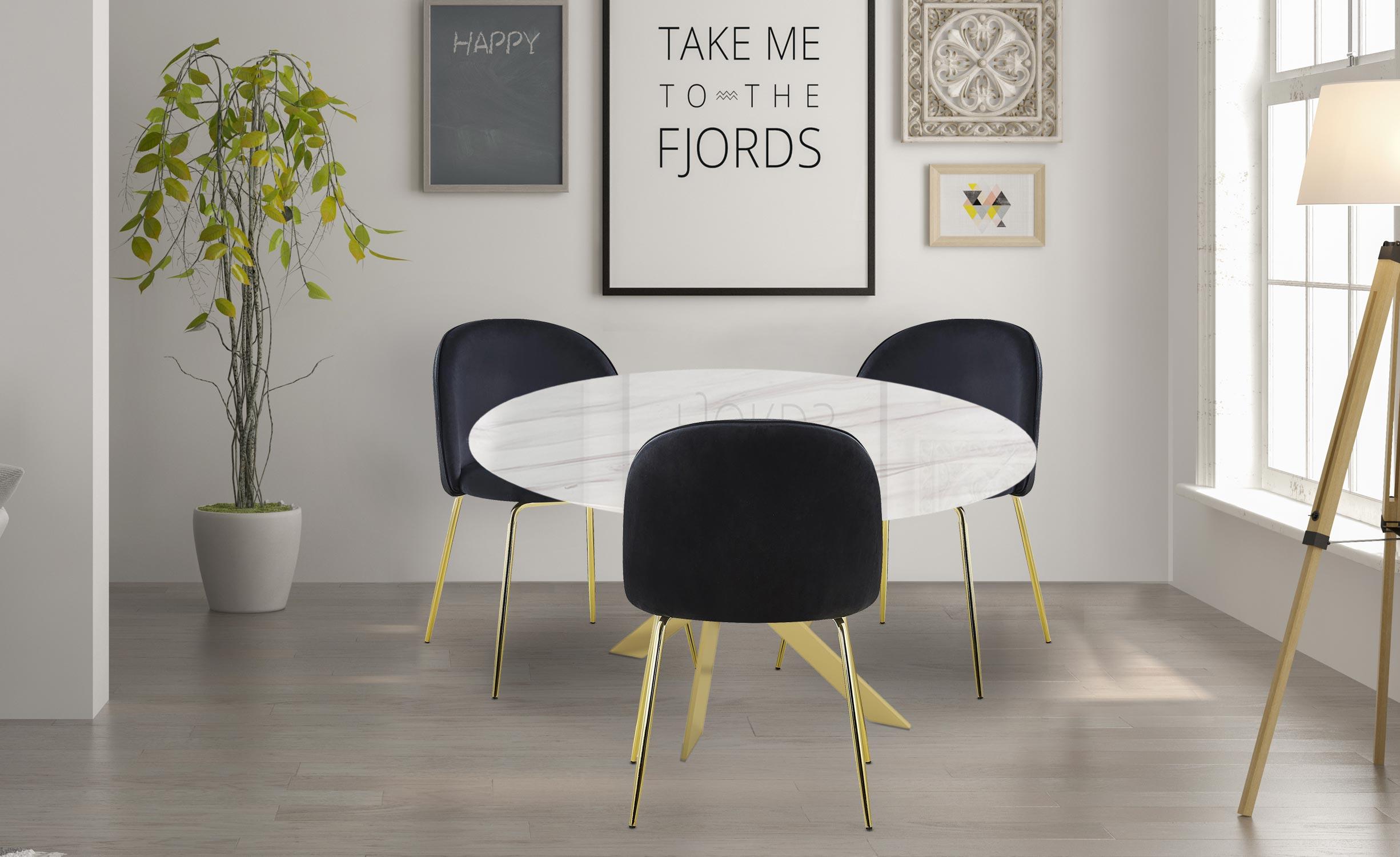 Greenwich Tisch weißer Marmoreffekt und goldene Beine