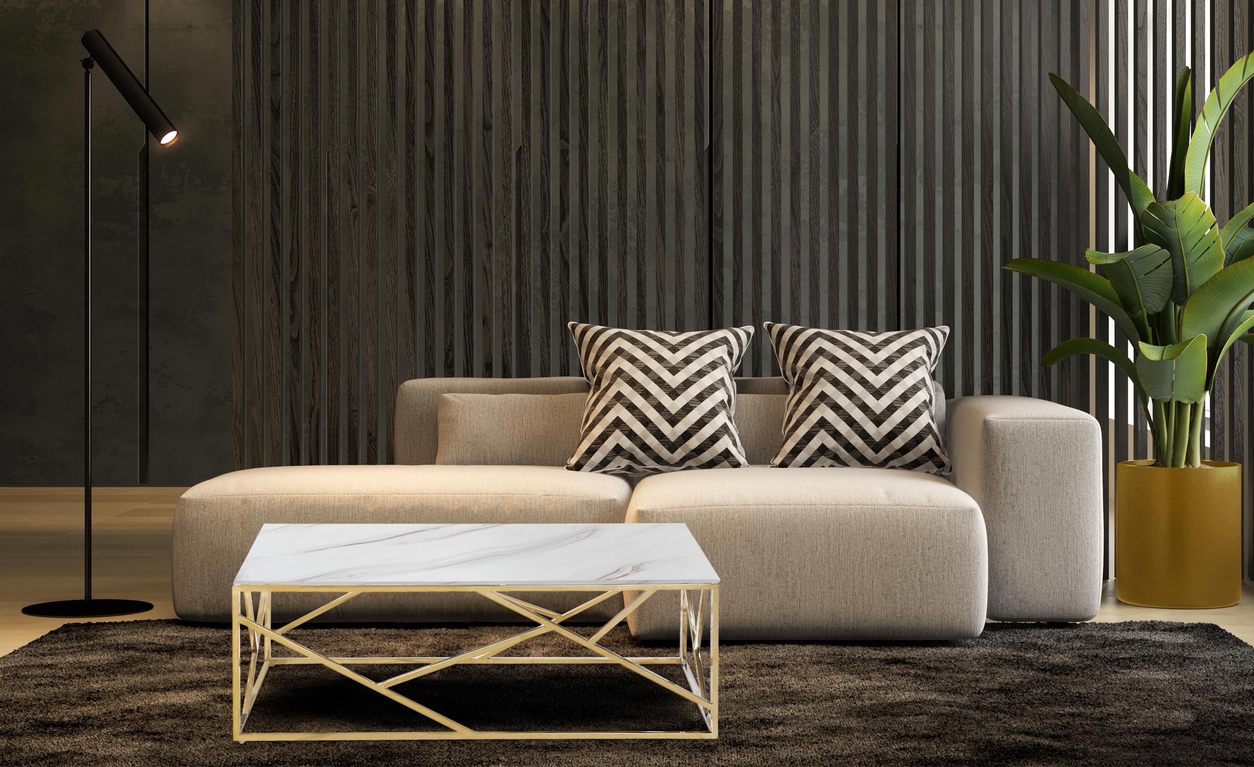 Opéra Couchtisch mit Glasplatte (Marmor Effekt) und goldenen Tischbeinen
