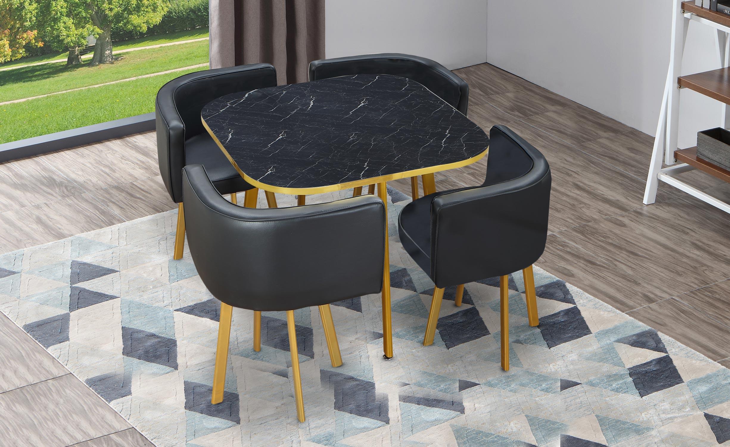 Oslo Gold Tischgruppe Marmor Effekt & Kunstleder Schwarz