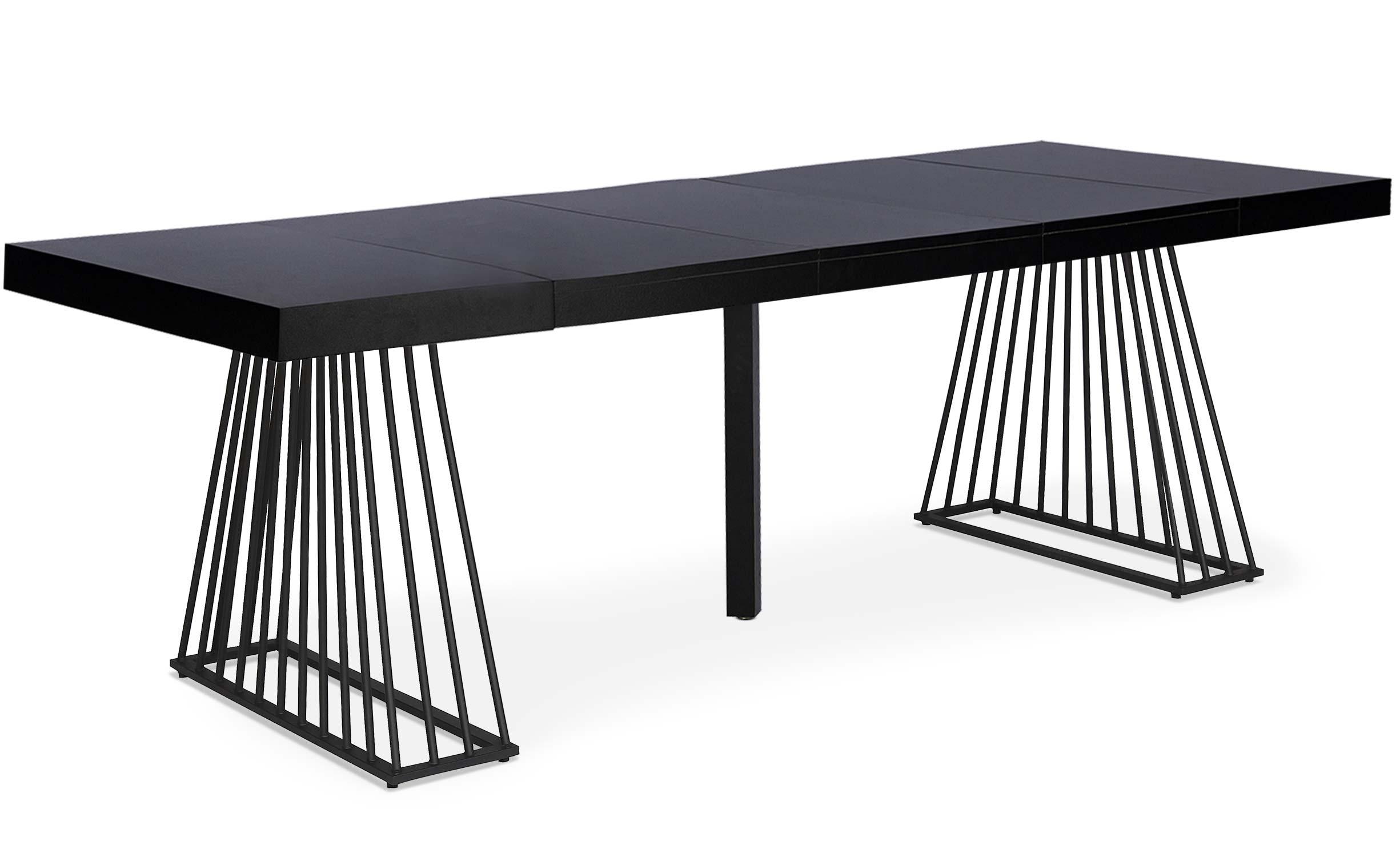 Factory Ausziehbarer Tisch aus Holz Schwarz