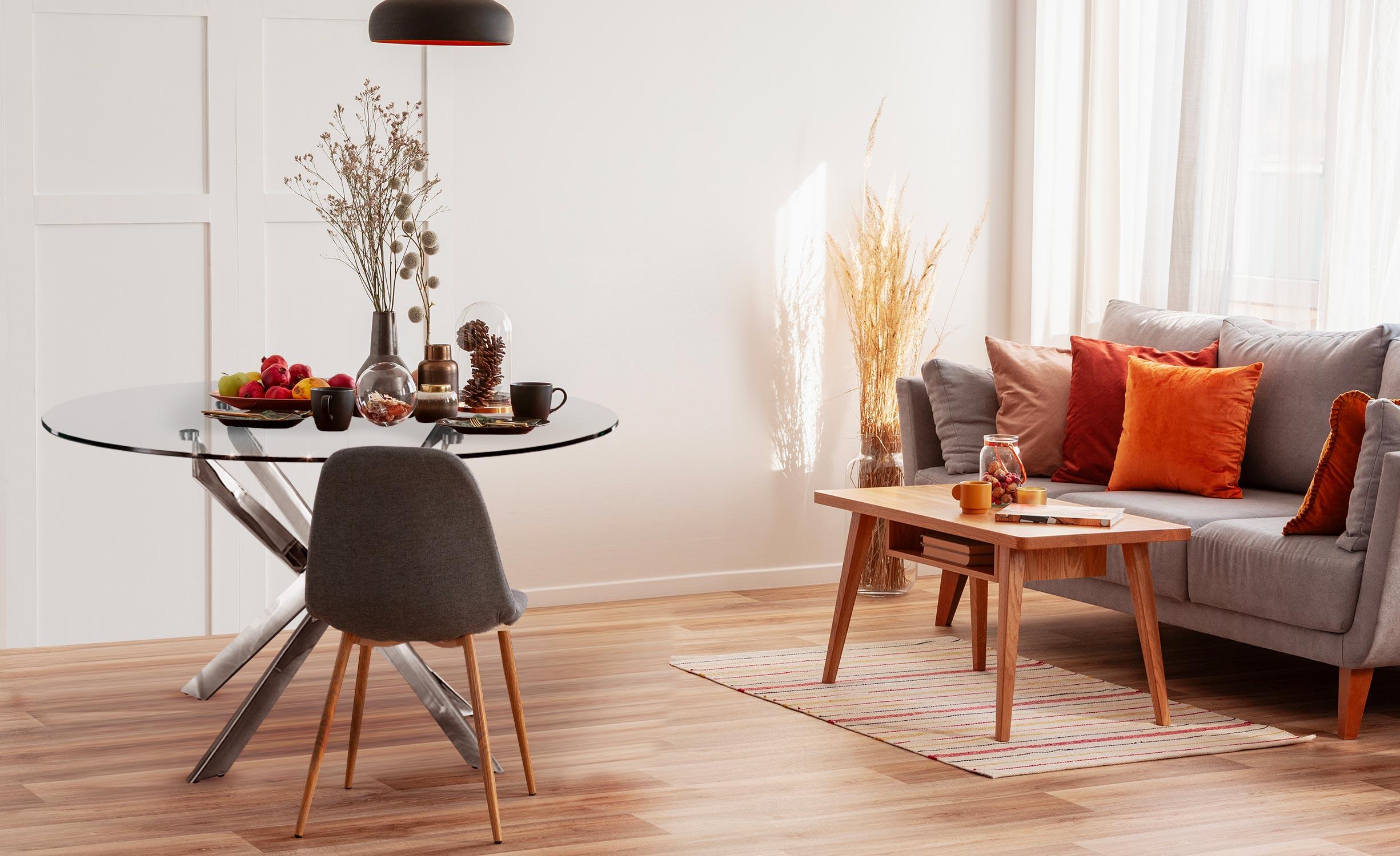 Runder Corix-Glastisch mit Metallbeinen
