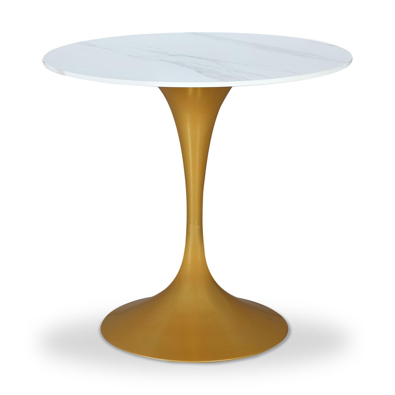 Runder Tisch Jeanne White und Gold Marble Effect