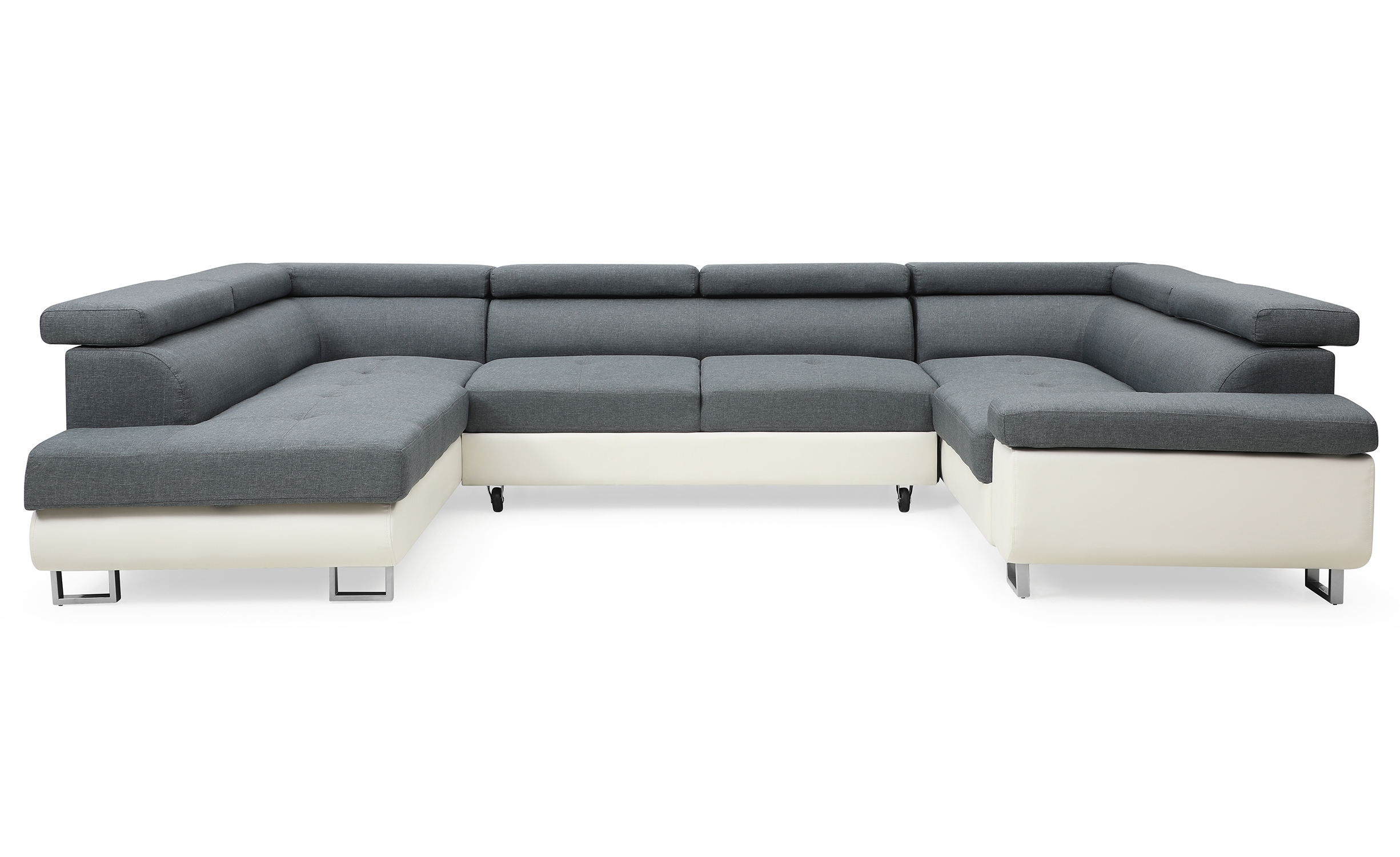 Canapé d'angle Tanya Simili Blanc et Tissu Gris