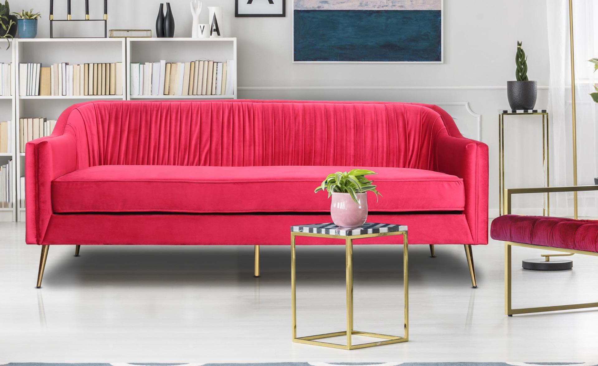 Tela 3-Sitzer Sofa mit goldenen Metallbeinen und Samtbezug Rot