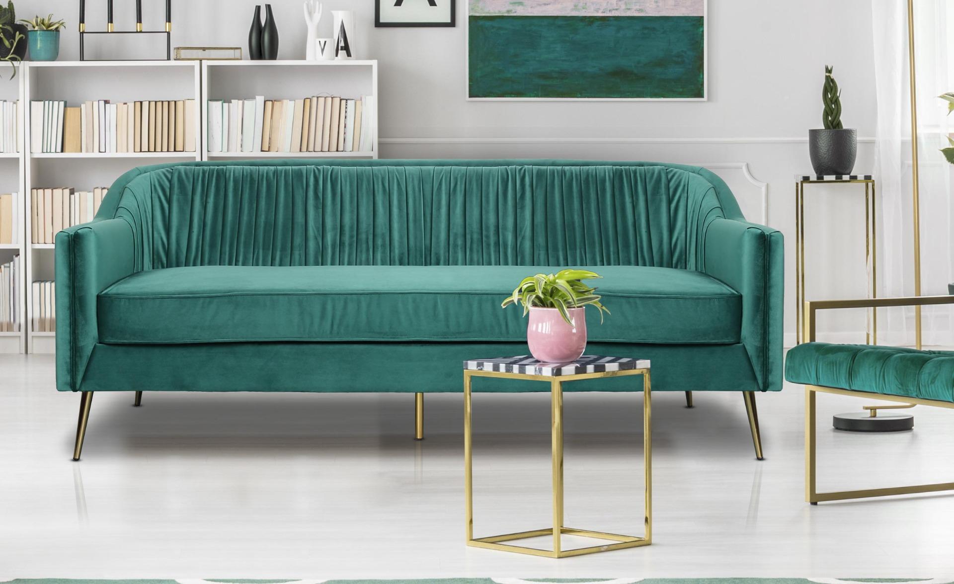 Tela 3-Sitzer Sofa mit goldenen Metallbeinen und Samtbezug Grün