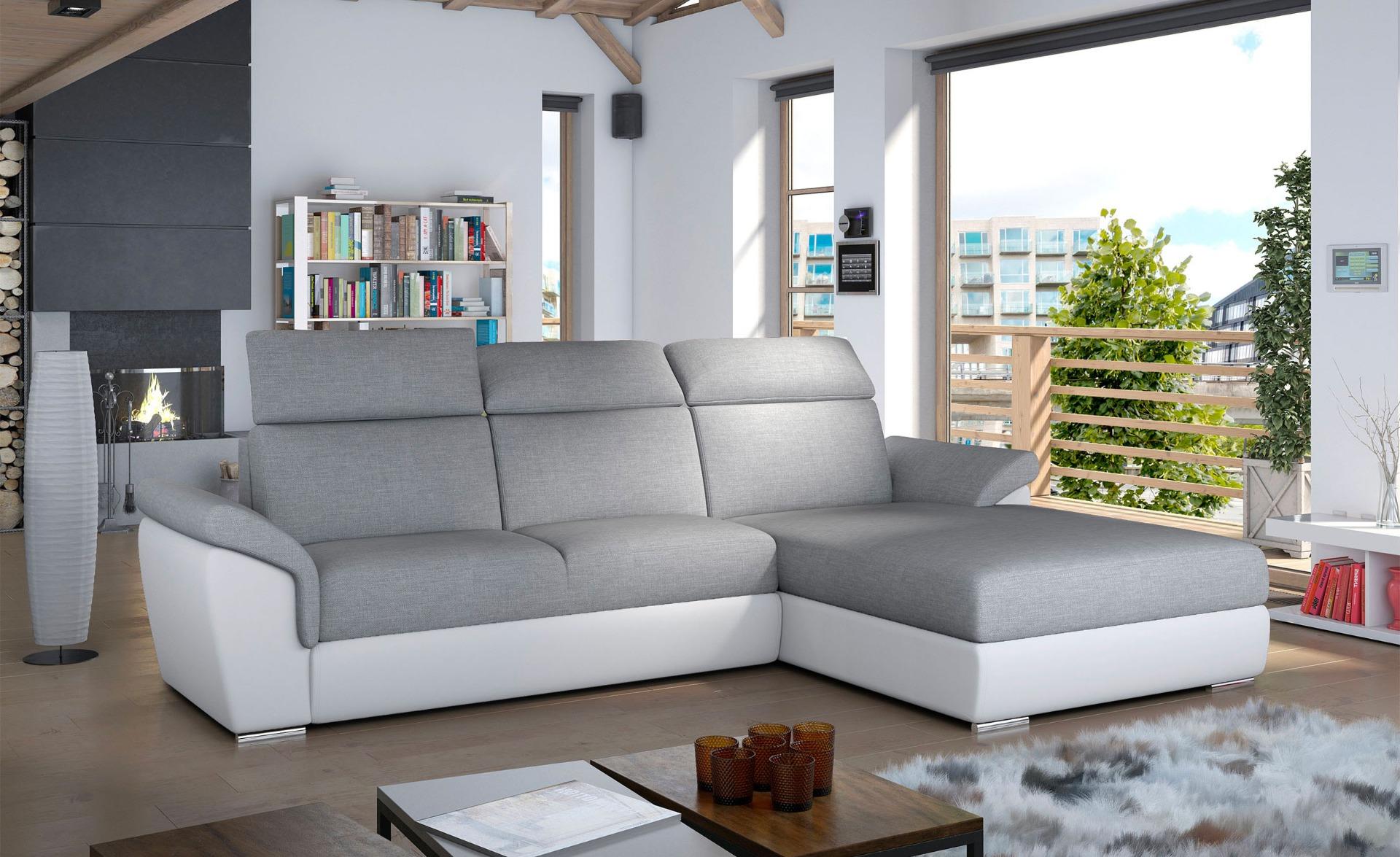 Trevisco Ausziehbares Ecksofa mit Kunstleder- und Stoffbezug Weiß & Grau