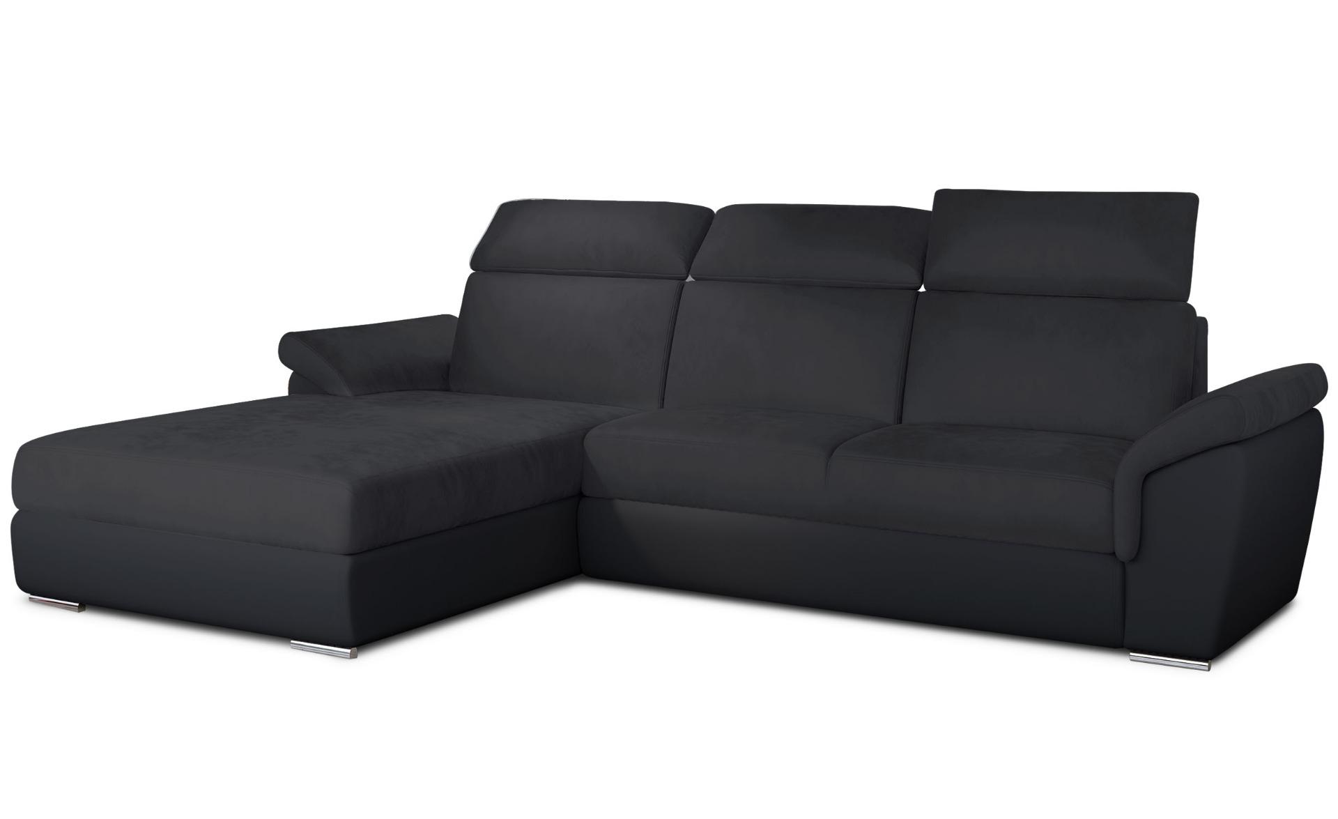 Canapé d'angle convertible Trevisco Simili Noir