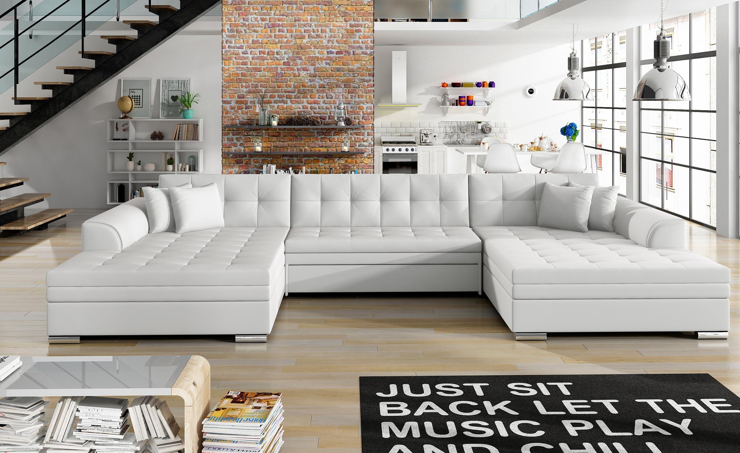 Vento Ausziehbares Ecksofa mit Kunstlederbezug Weiß
