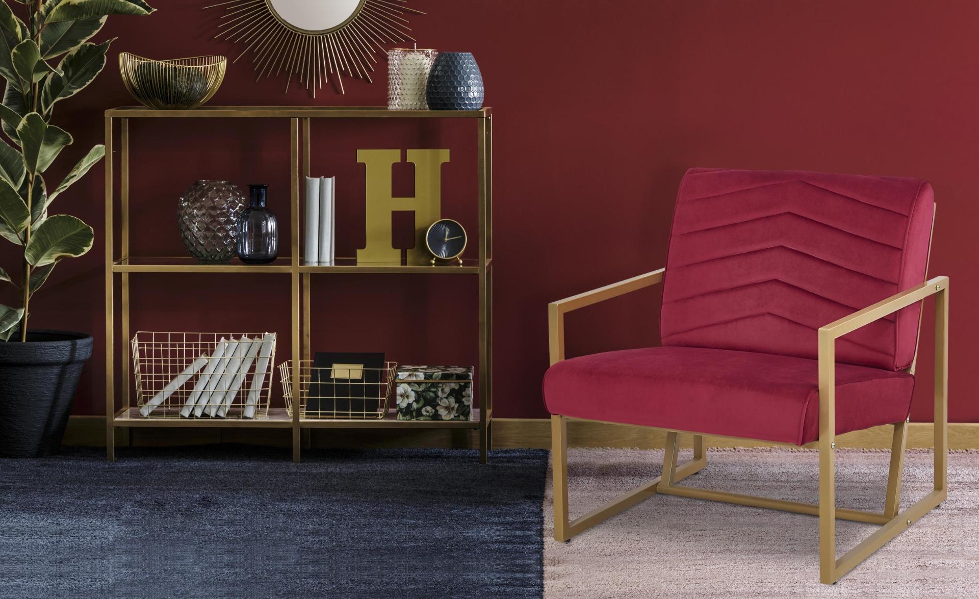 Vidor Sessel mit goldenen Füßen und Samtbezug Rot