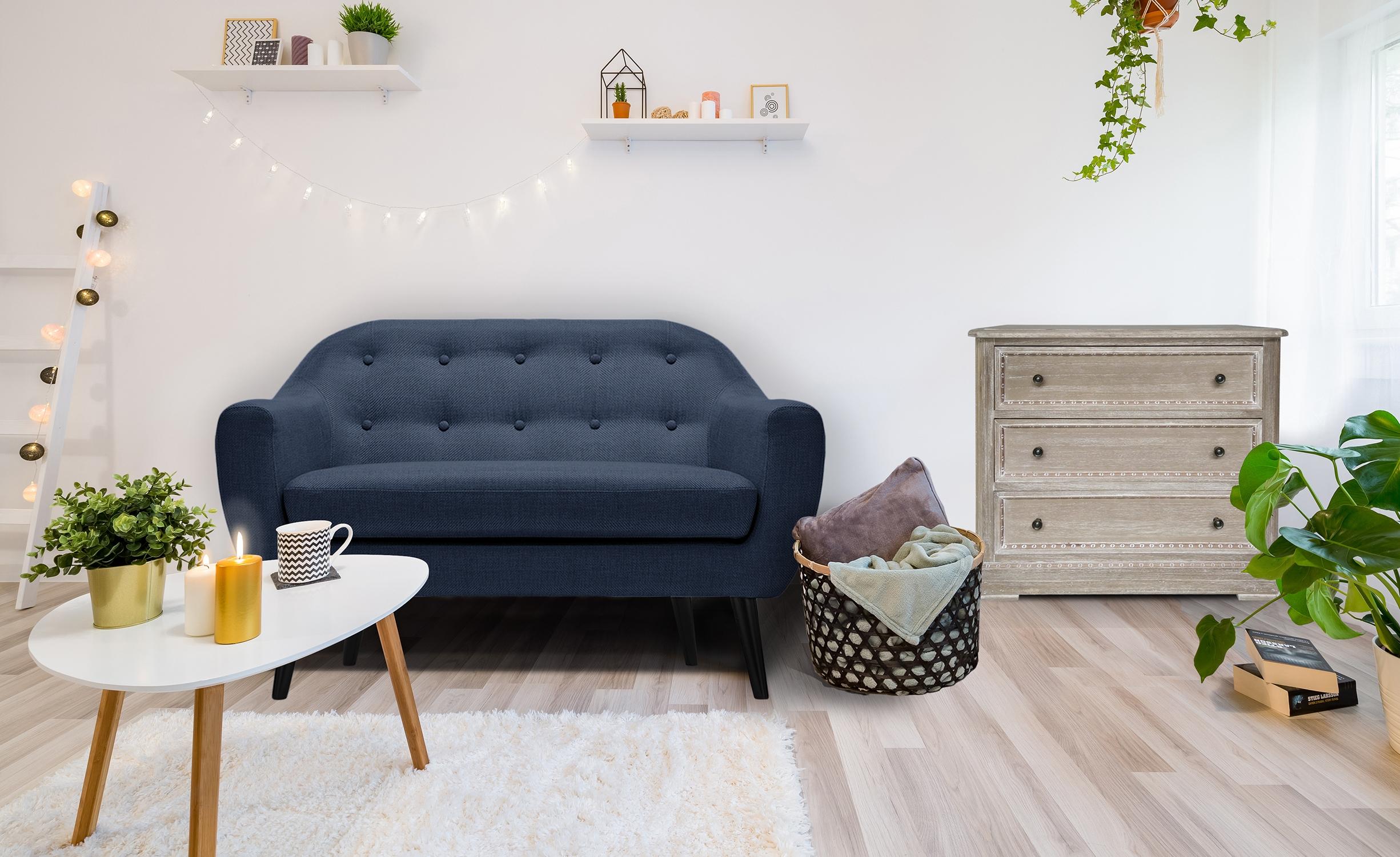 Fidelio Skandinavisches 2-Sitzer Sofa mit Stoffbezug Blau